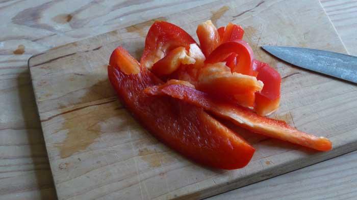 Skära paprika